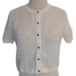 Ports White Lace Short Sleeve Button Cardigan NWT